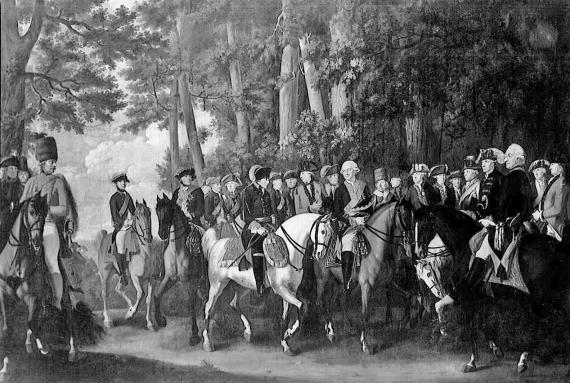 Friedrich der Grosse mit seinem Gefolge und Gästen vom Manöver nach Hause reitend (E.F. Cunningham, 1785)